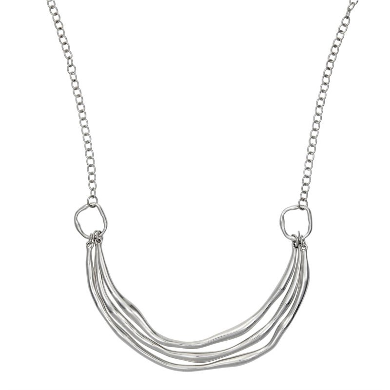 Hammered Sterling Silver Triple Curved Bar Pendant