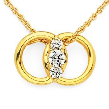 14 Karat Marriage Symbol Diamond Pendant with interlocking rings