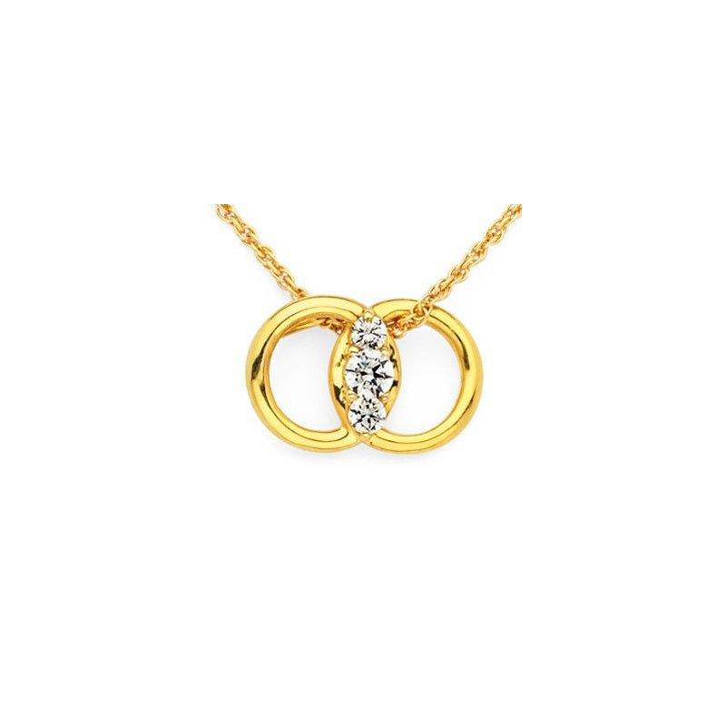 14 Karat Marriage Symbol Diamond Pendant with interlocking rings