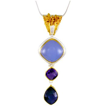 Sterling Silver Pendant With Blue Chalcedony Cushion Cabochon, Checkerboard Cut Amethyst And Mother Of Pearl & Onyx Doublet