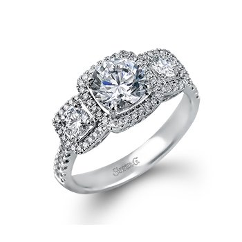 18 Karat Triple Halo Diamond ring mounting