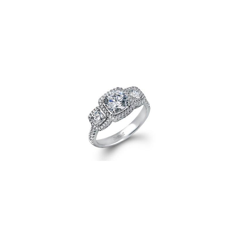 18 Karat Triple Halo Diamond ring mounting