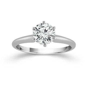 14 Karat White Gold 1.50 Carat Diamond Solitaire Ring