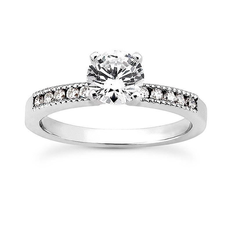 White 14 Karat Ring With 10 Round Diamonds=0.15Tw  G/H Si