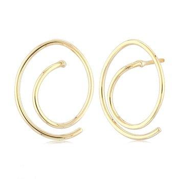 14 Karat Yellow Gold Free Form Earrings