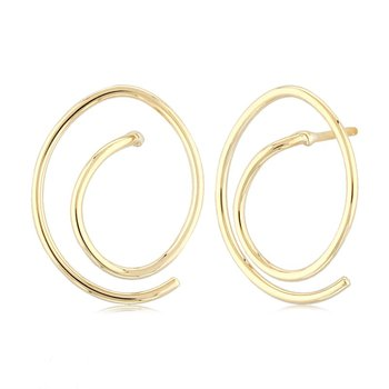 14 Karat Yellow Gold Free Form Earrings