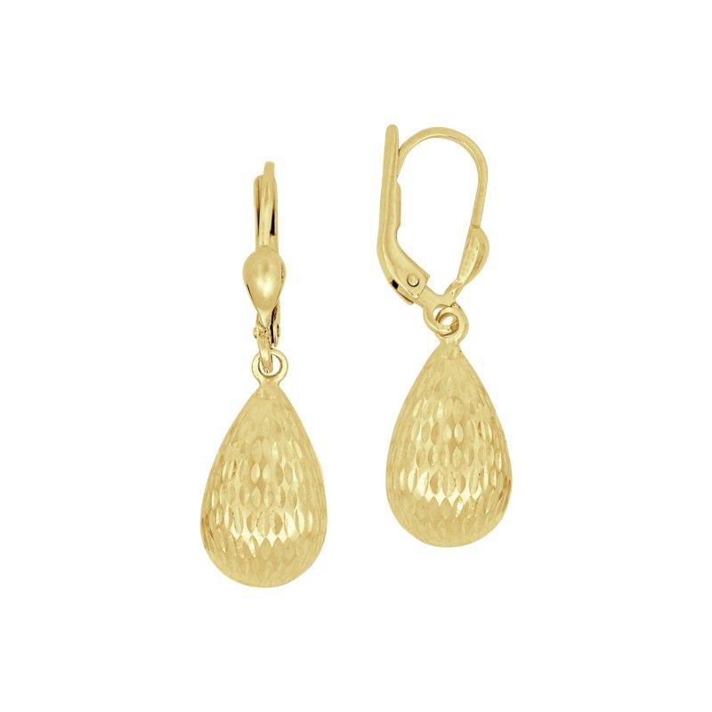 Yellow 14 Karat Diamond Cut Pear Drops Earrings