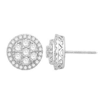 14 Karat White Gold Diamond Cluster Stud Earrings