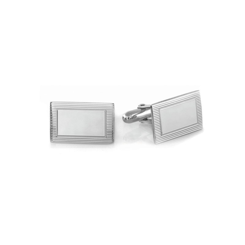White Sterling Silver Rectangle Cuff Links