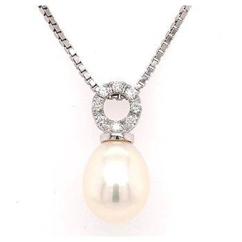 Gleaming Freshwater Pearl and Diamond Pendant