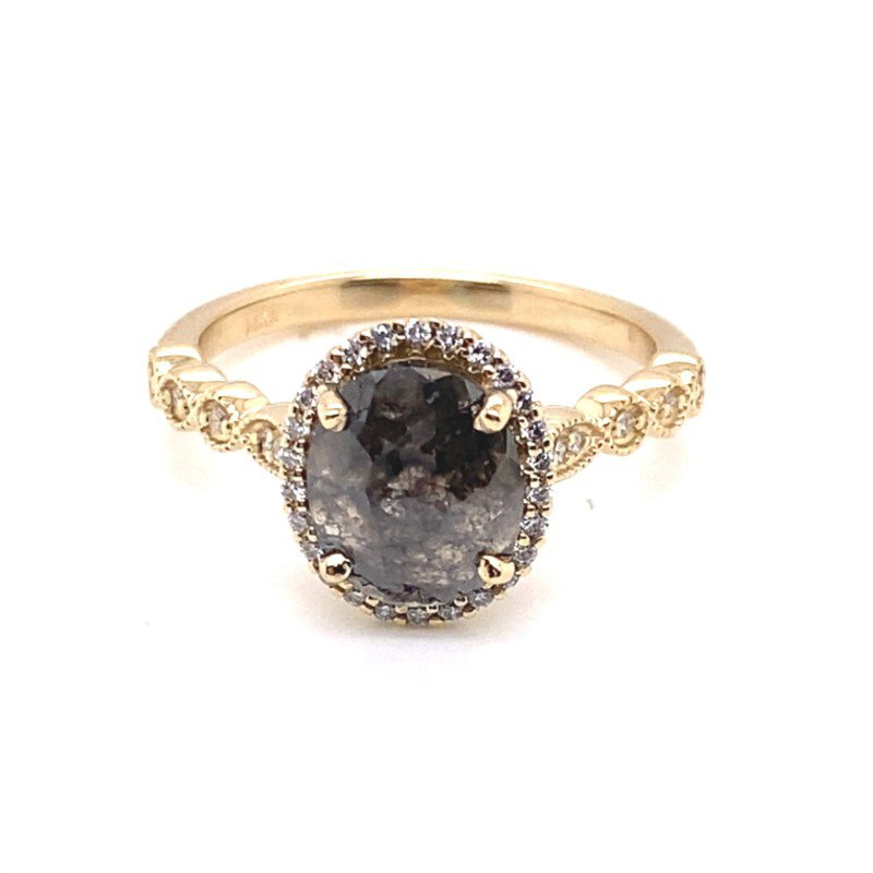 Salt and Pepper Oval Rose Cut Diamond in Yellow Gold Millgrain Detail Oval Halo Ring With White Diamond Details