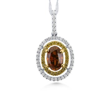 18 Kt Natural Fancy Color Brown Diamond Pendant with White Diamonds