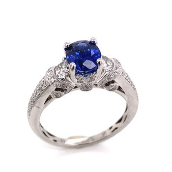 14 Karat White Gold Diamond and Sapphire Ring With Delicate Details
