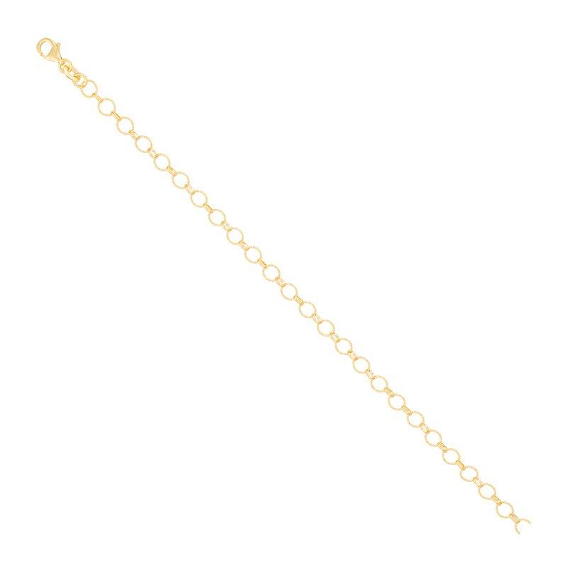 """Diamond Cut 14 Karat Open Circle Link Bracelet, 7.5"""""""