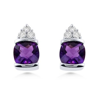14kt Cushion cut Amethyst and Diamond Earrings