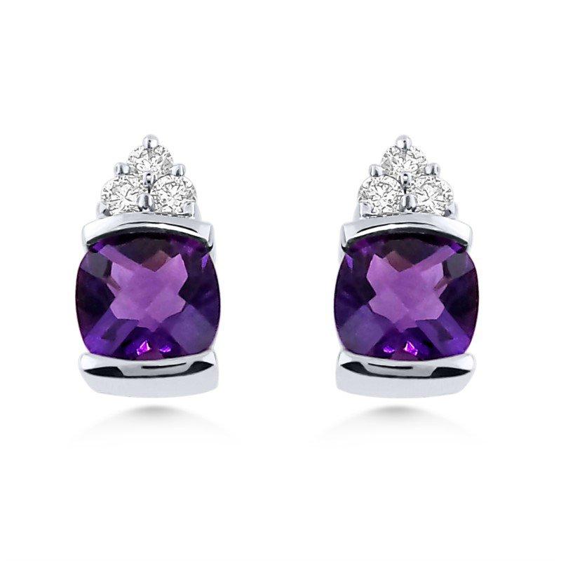 14kt Cushion cut Amethyst and Diamond Earrings