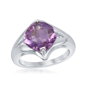Sterling Silver Ring with Amethyst Stone. 2.83ct