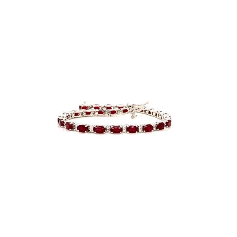 Luxurious Ruby and Diamond Bracelet in White Gold