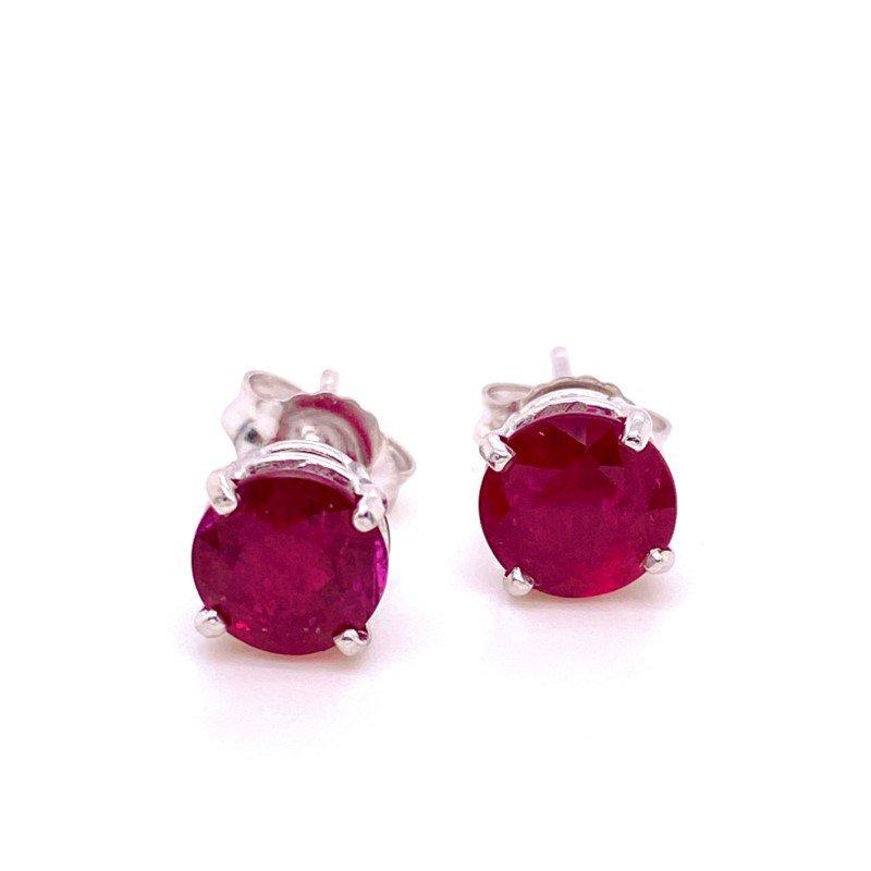 14 Karat White Gold Ruby Stud Earrings