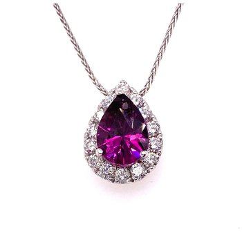 Brilliant Color change Grape Garnet Pendant With Diamonds
