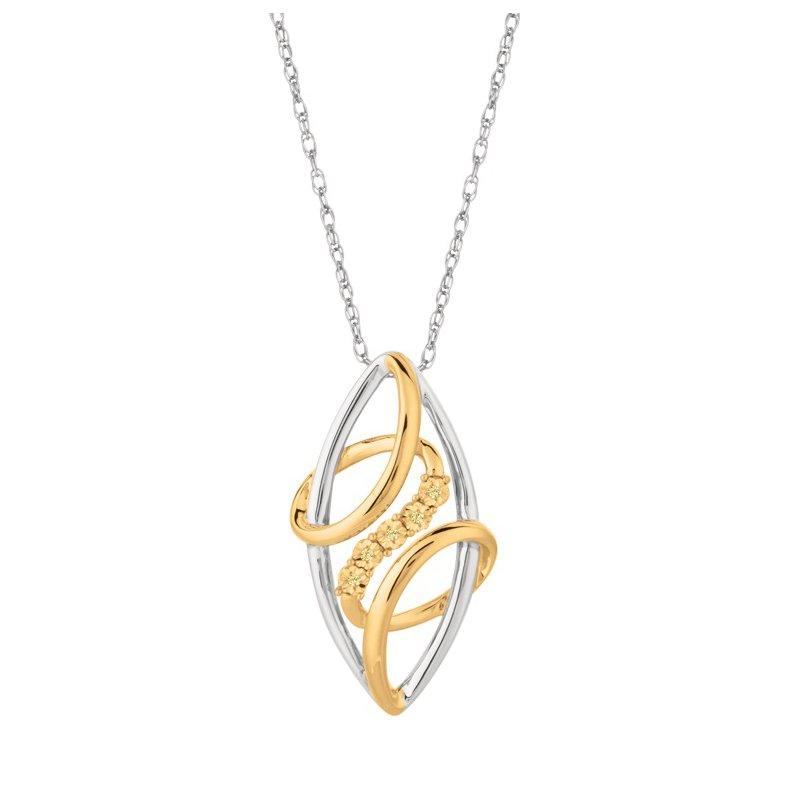 Sterling Silver and Yellow Freeform Yellow Diamond Pendant