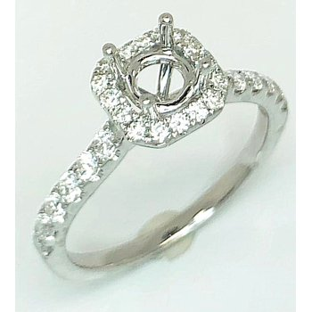 18kt Cushion shape Diamond Halo ring mounting