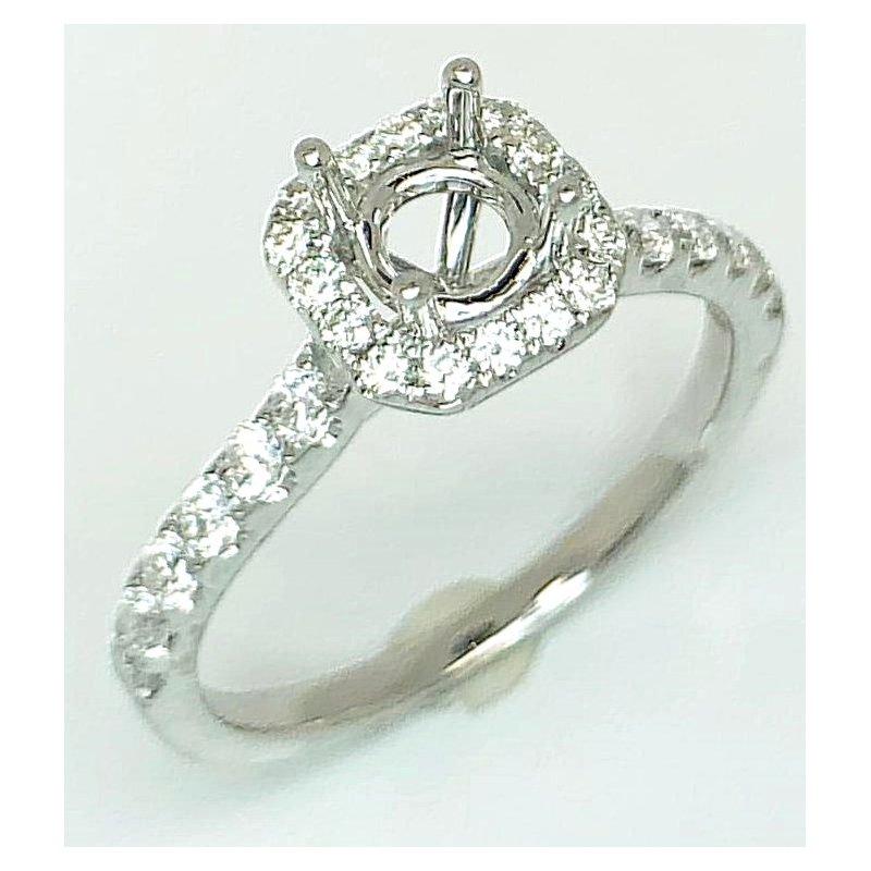 18kt Cushion shape Diamond Halo ring mounting