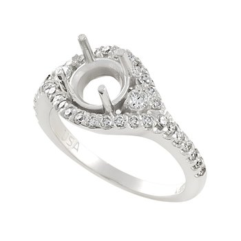 14kt White Gold Encircling Diamond  ring semi-mount