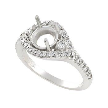14kt White Gold Encircling Diamond  ring semi-mount