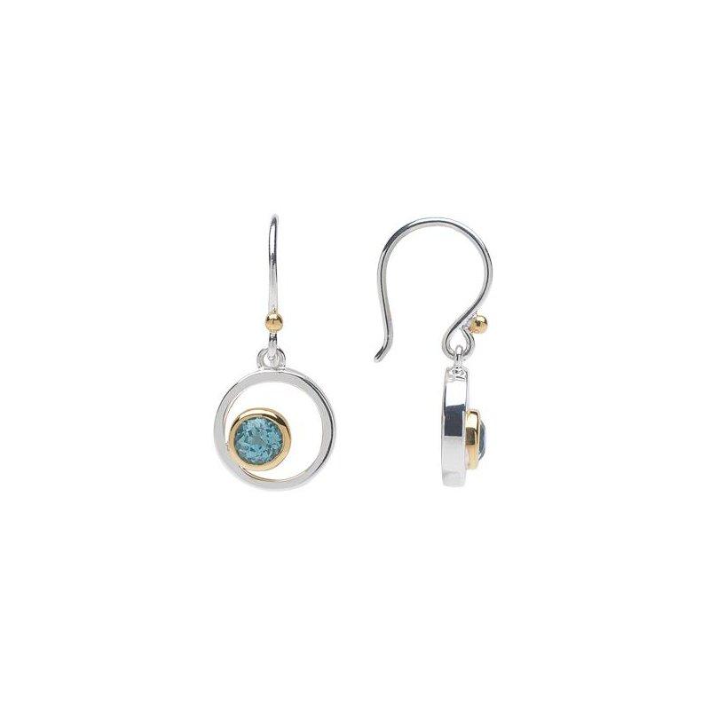 Blue Topaz Bezel Set Drop Earrings
