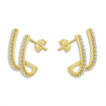 14 Karat Yellow Gold Diamond Ear Climbers
