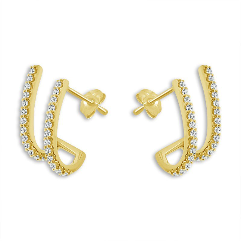 14 Karat Yellow Gold Diamond Ear Climbers