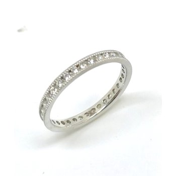 Platinum Band with Round Diamonds