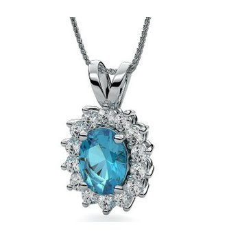 14 Karat Classic Blue Topaz and Damond Pendant