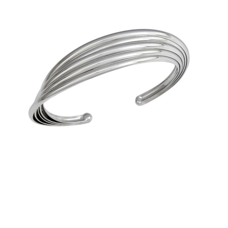 Sterling Silver Multi Band Cuff Bracelet