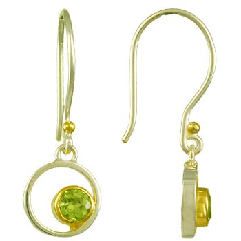 Peridot Bezel Set Drop Earrings