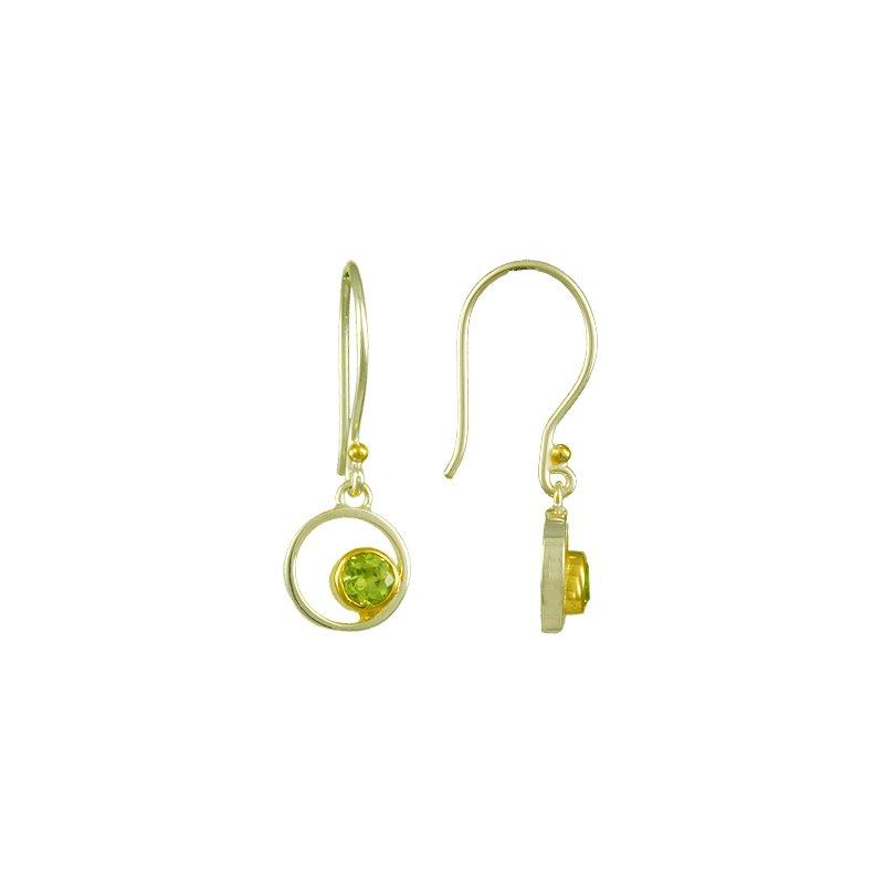 Peridot Bezel Set Drop Earrings