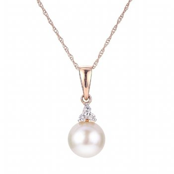 Rose Gold 8 mm Pearl and Diamond Pendant