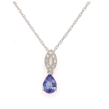 Tanzanite and Diamond Drop Pendant on 14 Karat White Gold Chain