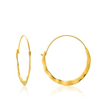 ellow Sterling Silver Hammered Metal Crush Hoops Earrings
