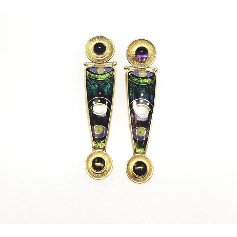 18/22 Karat/Sterling Artist Designed Enamel Earrings With Amethysts