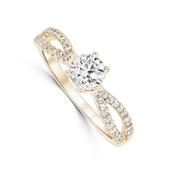 Petite Yellow Gold Split Shank Diamond Mounting