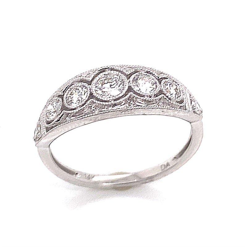Vintage Inspired 14 Karat White Gold Bezel Set Diamond Ring