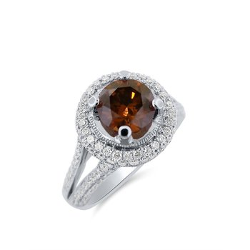 Natural Coffee Brown Diamond Halo Ring