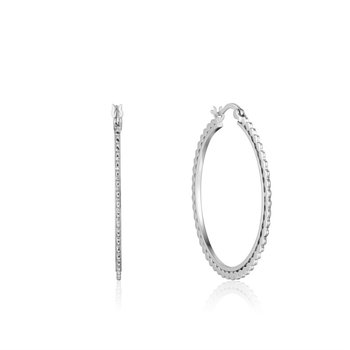 White Sterling Silver Ear We Go Flat Beaded Hoops Earrings