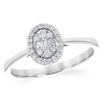 14 kt White Gold Ring With Baguettes and Round Diamonds