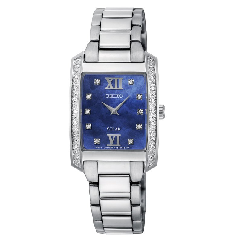 Ladies White Stainless Steel Solar Watch