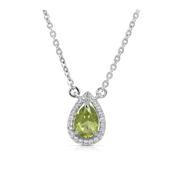 Sterling Silver Pear Shape Peridot Accompanied with White Topaz