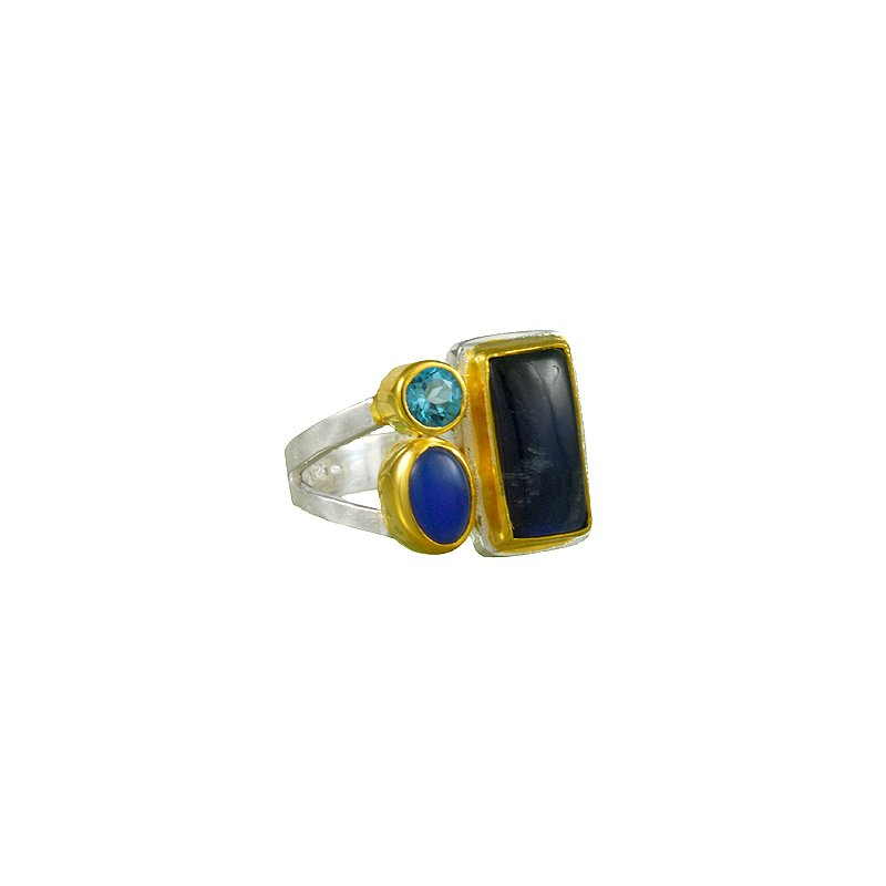 Designer Ring with Rainbow Moonstone, Blue Agate, Blue Topaz