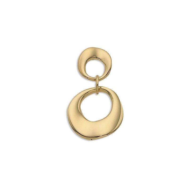 14 Karat Yellow Gold Wavy Drop Pendant